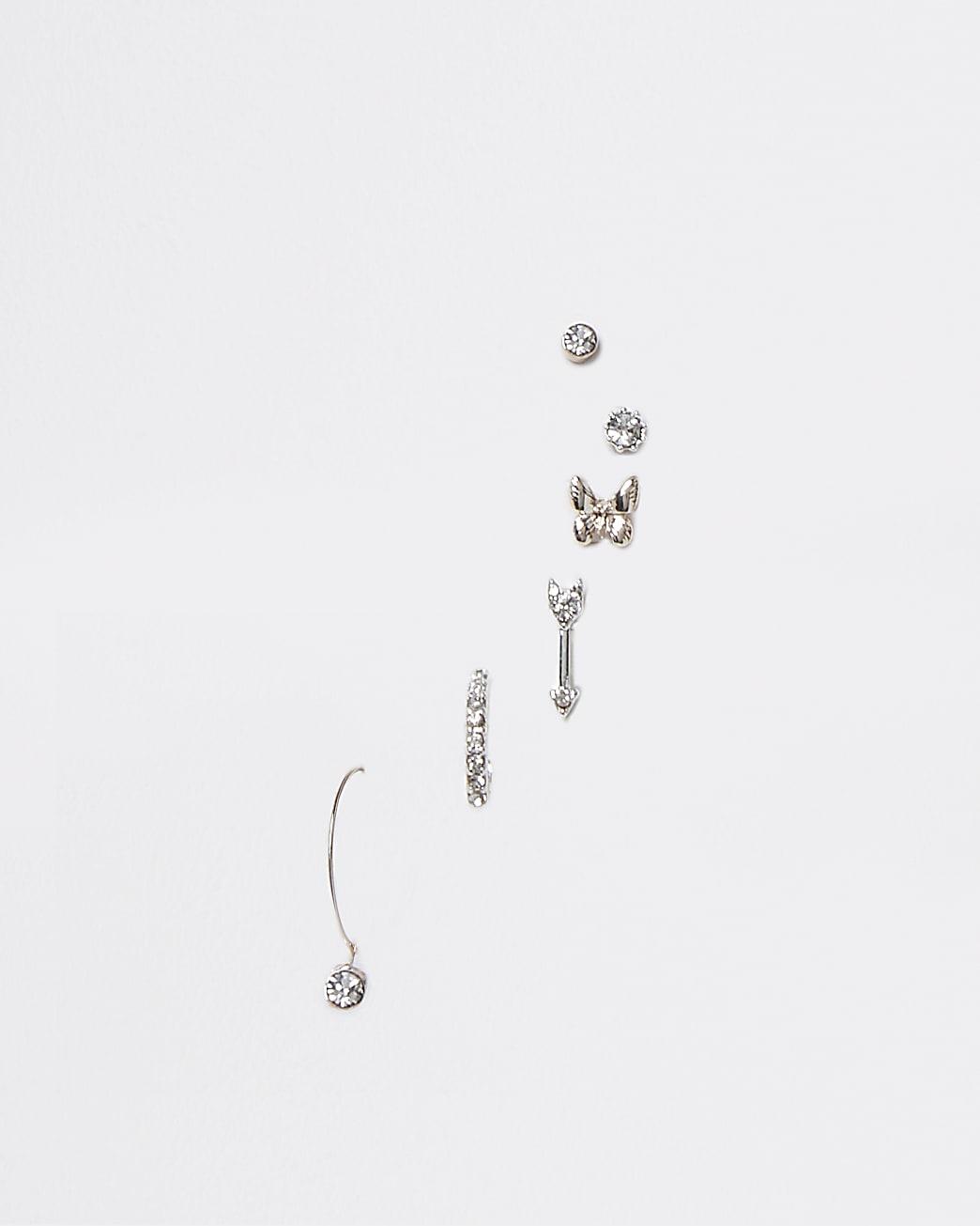 Gold rhinestone butterfly 6 pack earrings