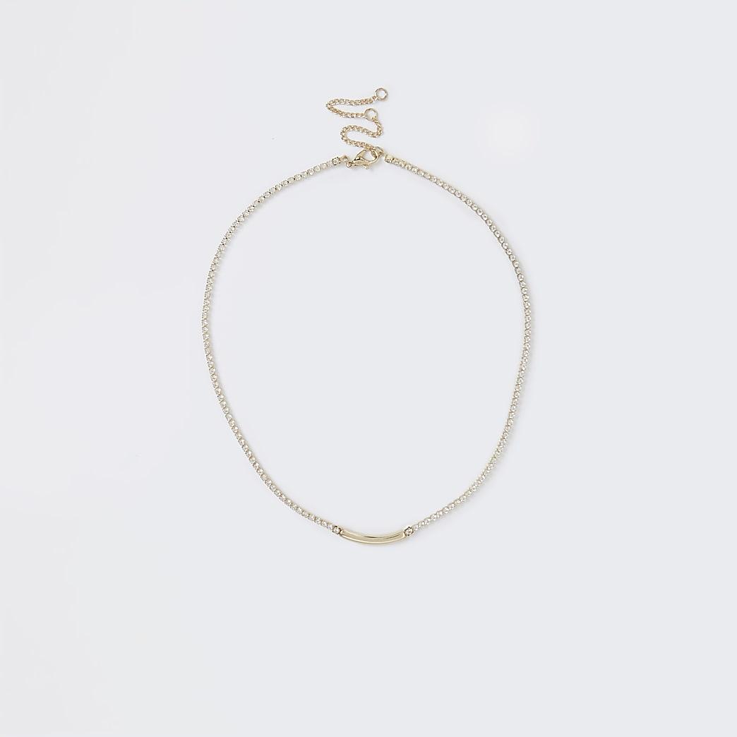 Gold Rhinestone Chain Bar Necklace