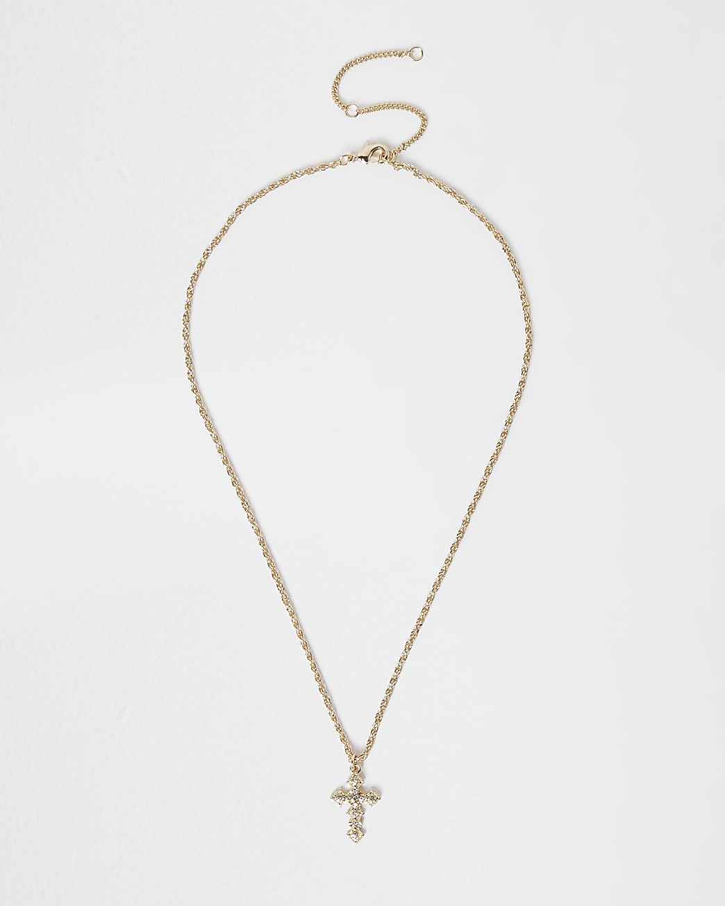 Gold rhinestone cross necklace