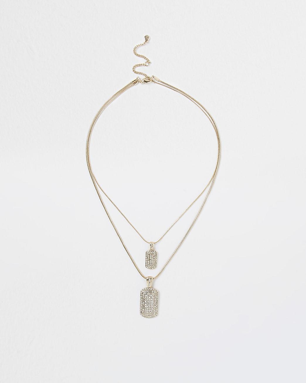Gold rhinestone dog tag necklace