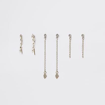 Gold rhinestone ear climber 3 pack