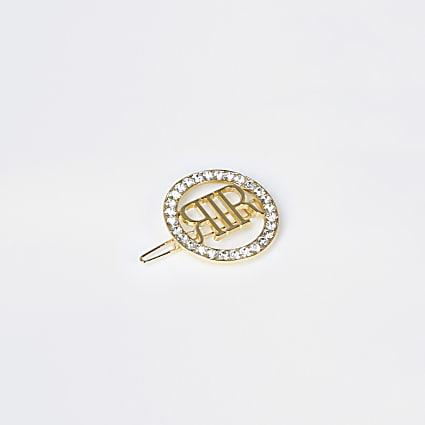 Gold rhinestone hair clip