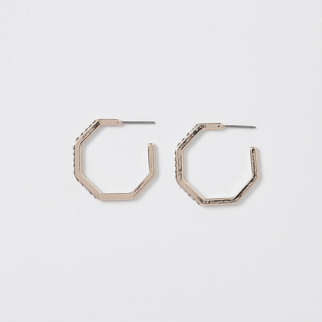 Gold rhinestone hexagon hoop earrings