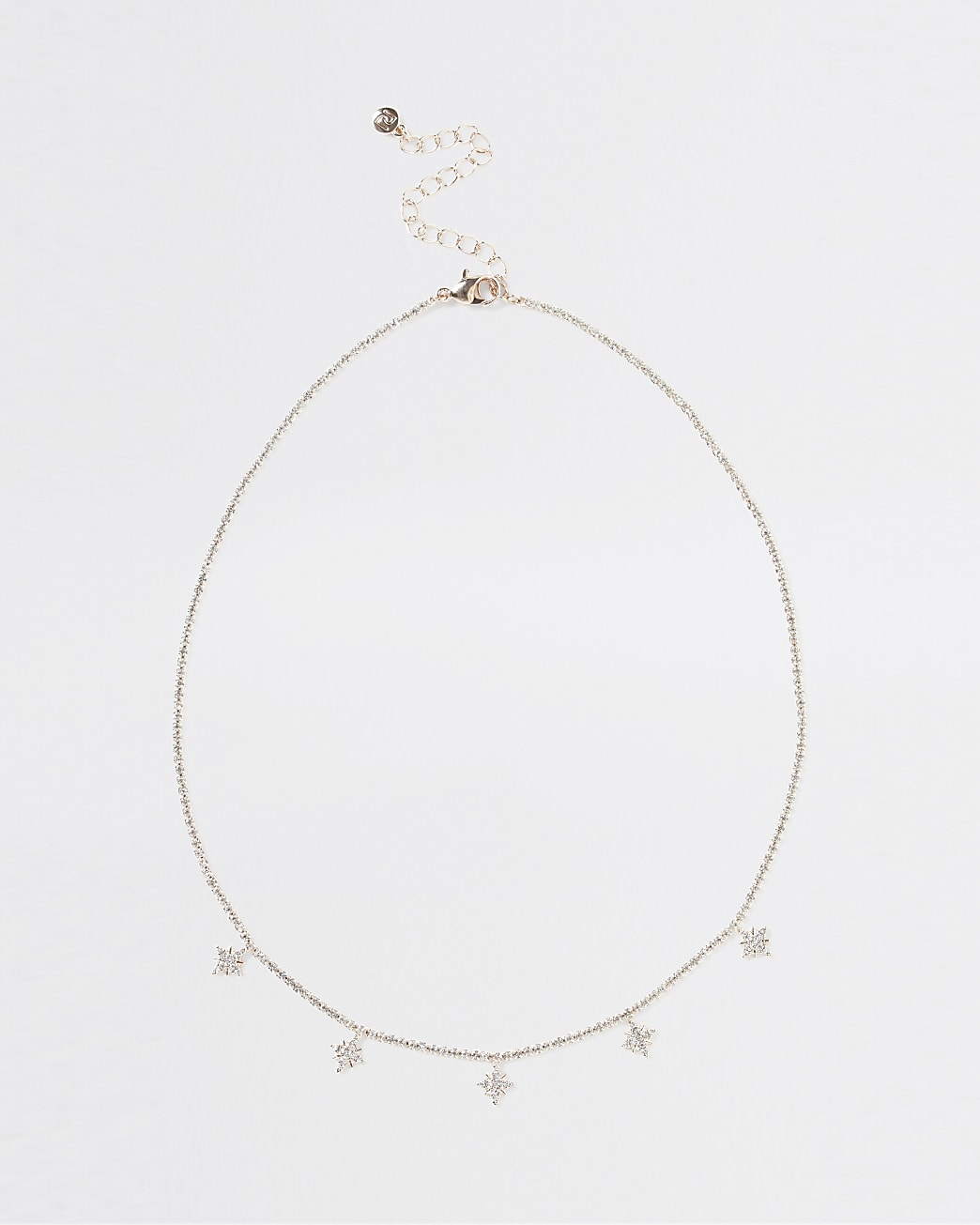 Gold rhinestone star charm necklace