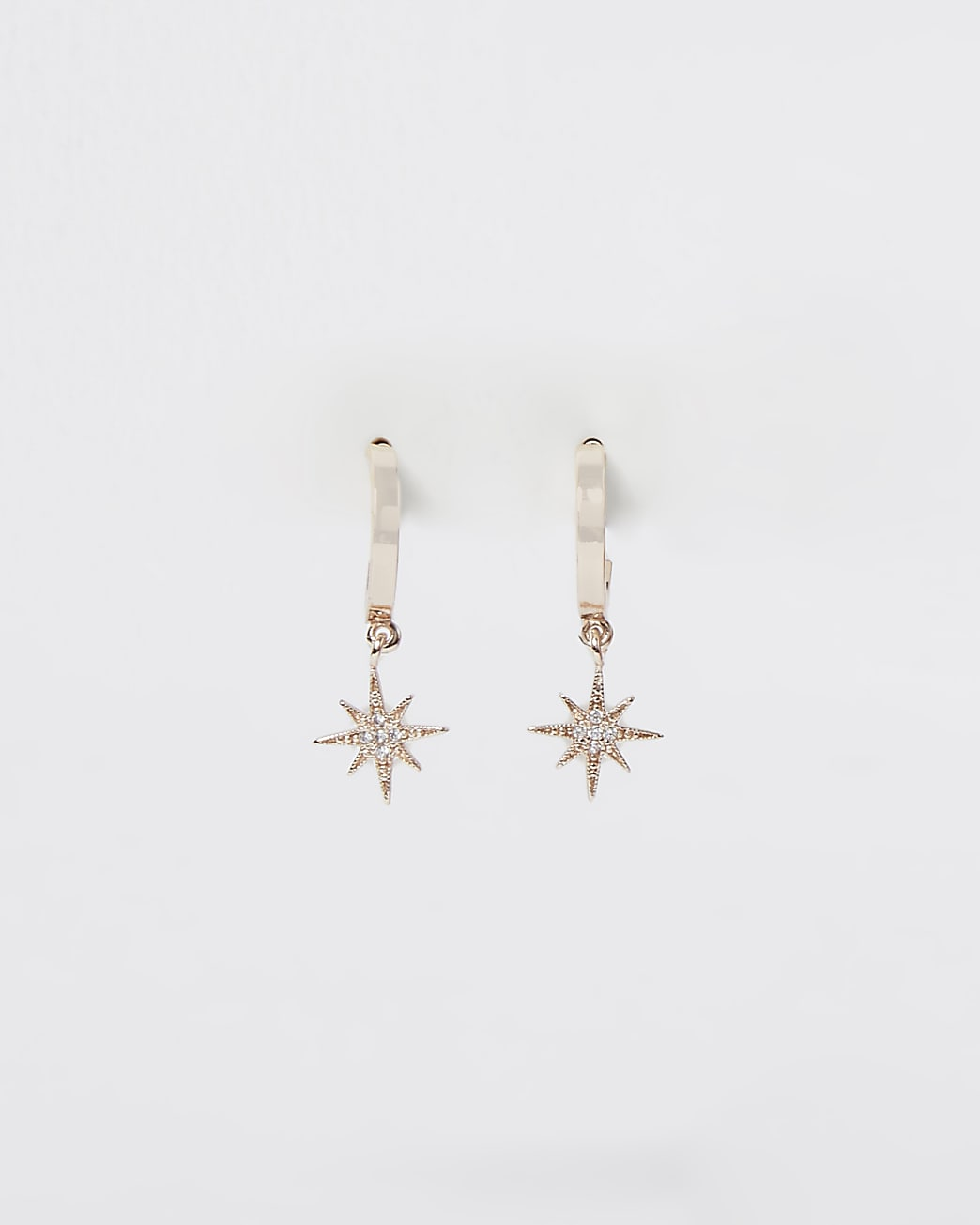 Gold rhinestone starburst drop hoop earrings