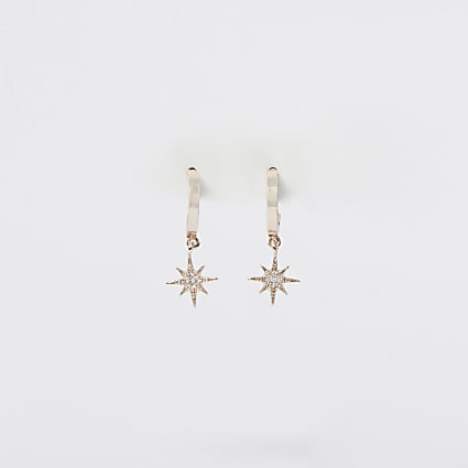 Gold rhinestone starburst drop hoop earrings