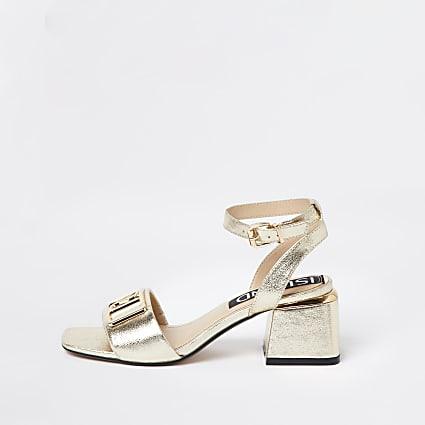 Gold RI ankle strap low heel sandal