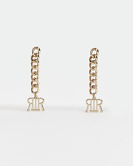 Gold RI branded chain link drop earrings