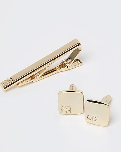 Gold RI branded cufflinks and tie pin set