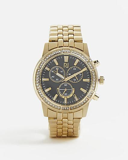 Gold RI branded diamante link strap watch