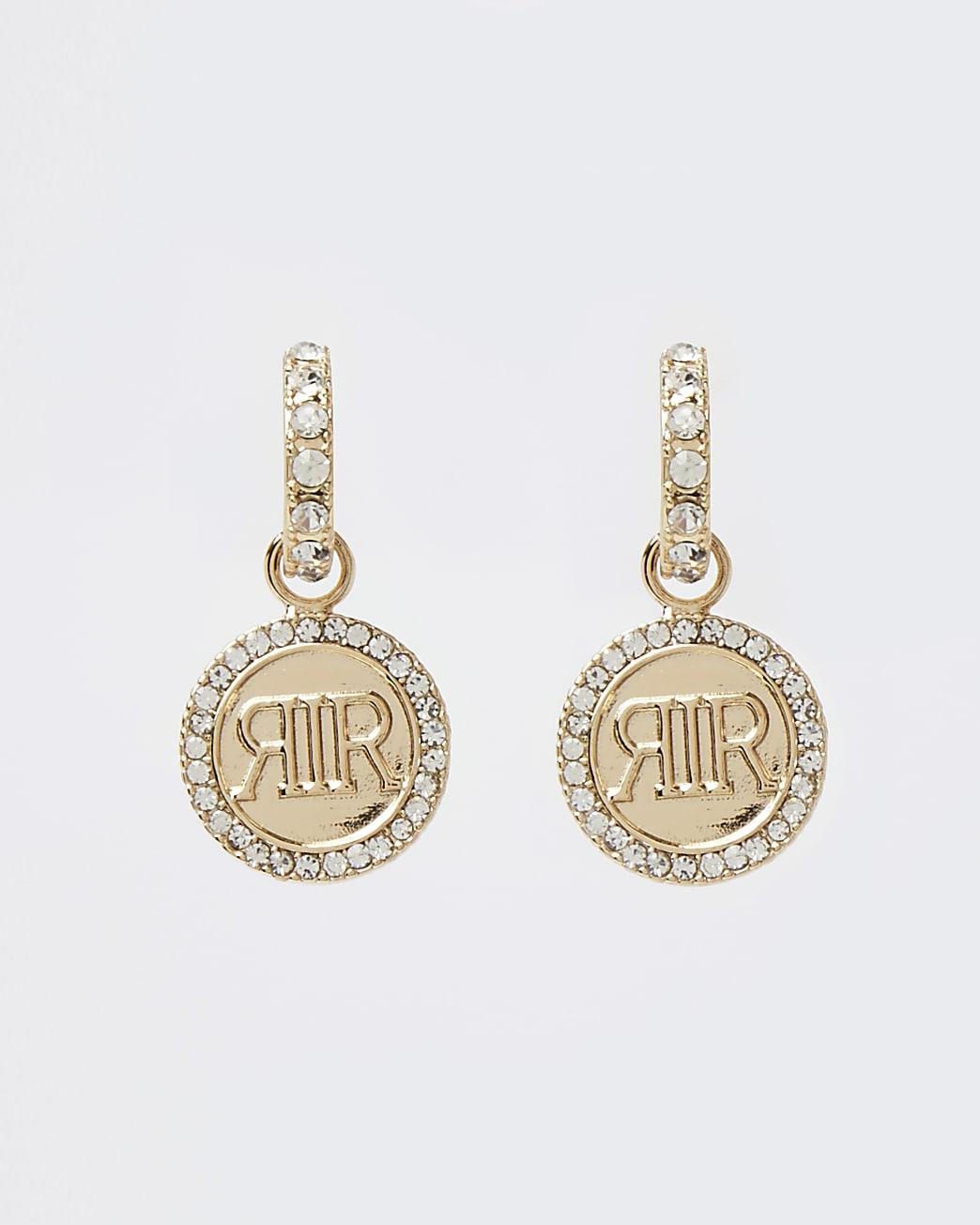 Gold RI branded drop earrings