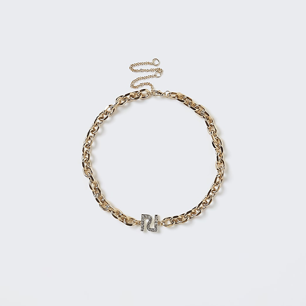 Gold RI diamante chain bracelet