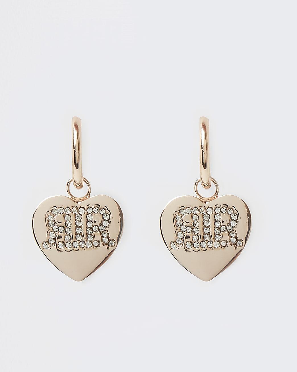 Gold RI diamante heart drop earrings