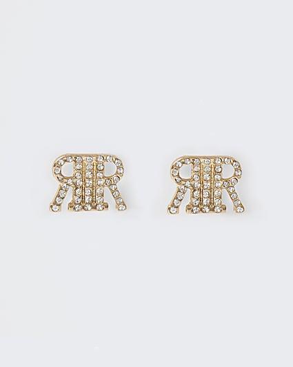 Gold RI diamante stud earrings