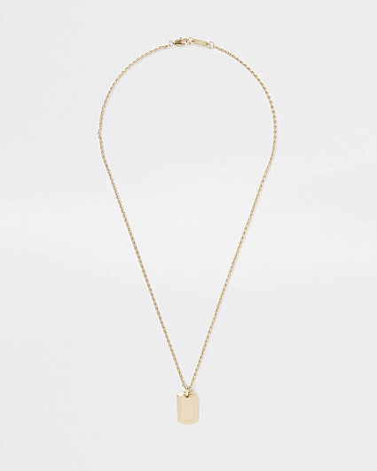 Gold RI dog tag necklace