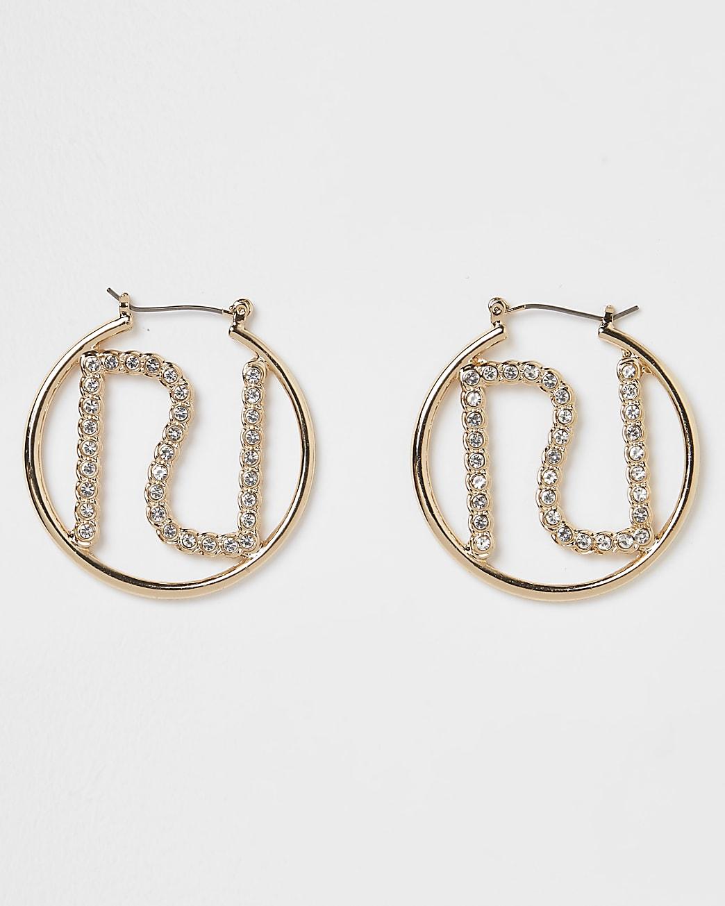 Gold RI rhinestone hoop earrings