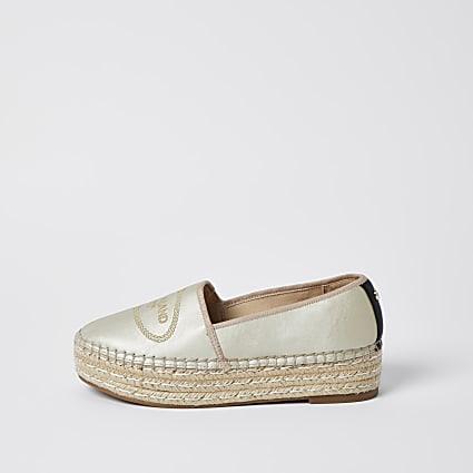 Gold RI woven espadrille shoes