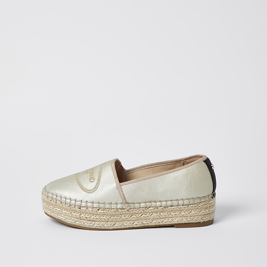 Gold RI woven espadrille shoes