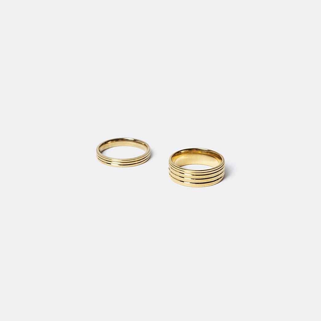 Gold ridged steel rings 2 pack