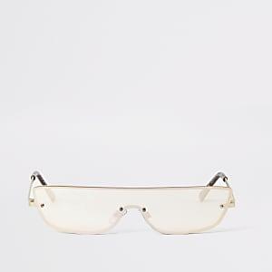 Kleine Visor-Sonnenbrille in Gold ohne Rahmen
