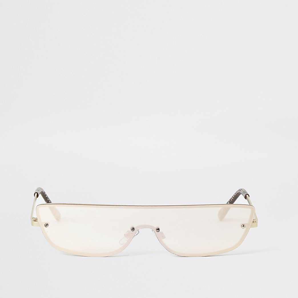 Gold rimless small visor sunglasses