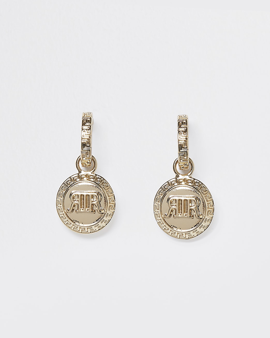 Gold 'RIR' coin drop earrings