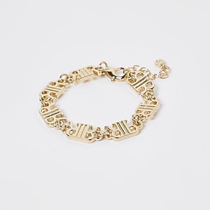 Gold 'RIR' link chain bracelet