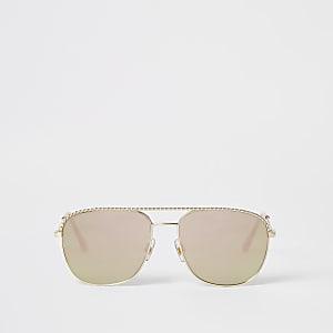 Goudkleurige zonnebril met touwdetails en weerspiegelende glazen