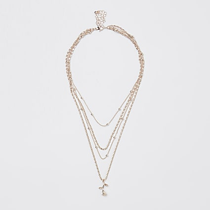 Gold rose charm multirow chain necklace