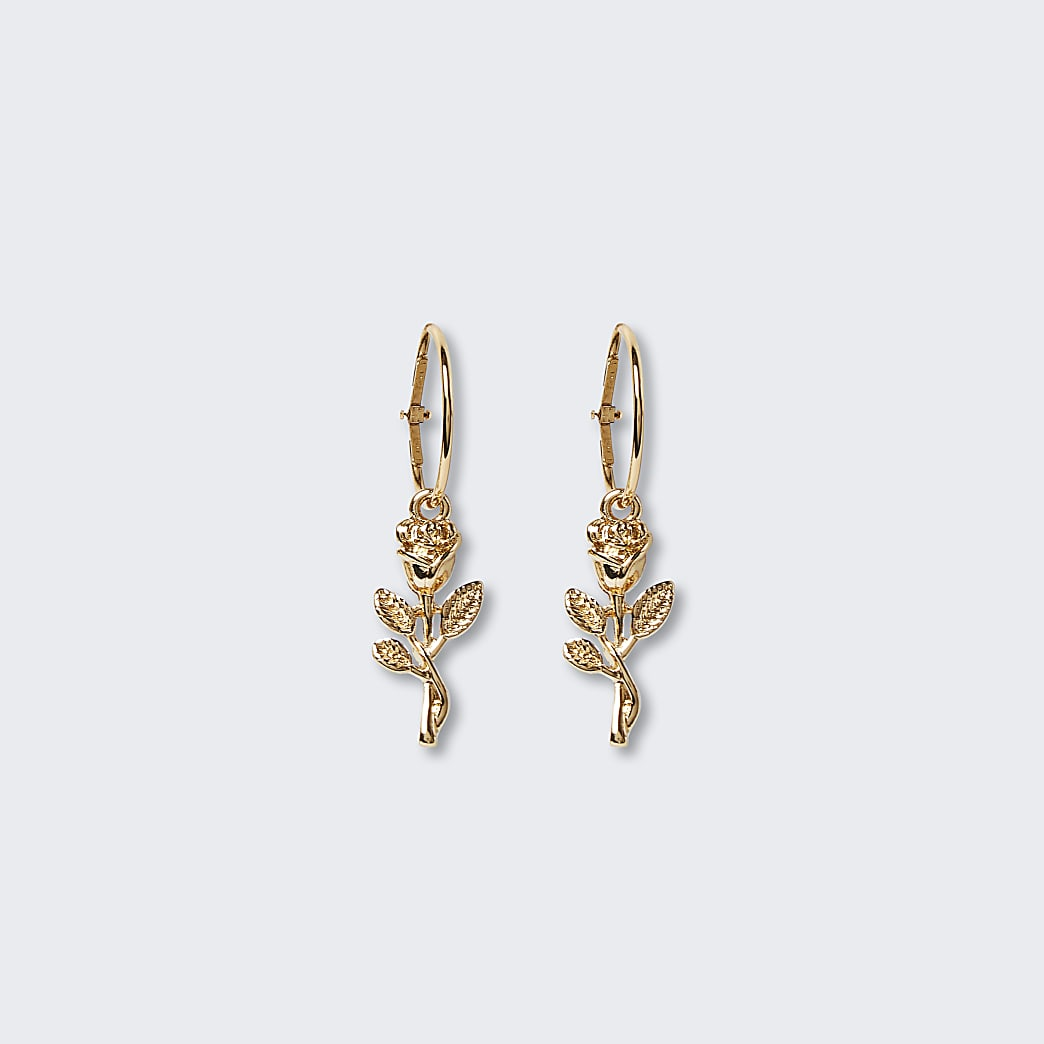 Gold rose drop hoops