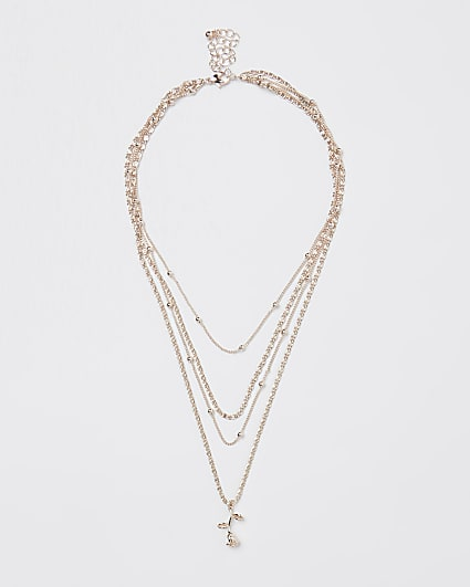 Gold rose pendant multirow necklace