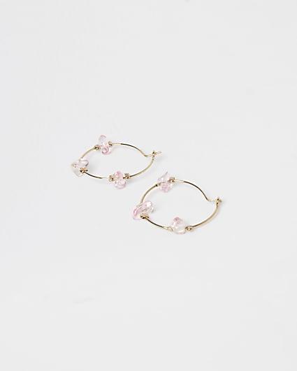 Gold rose quartz hoop earrings