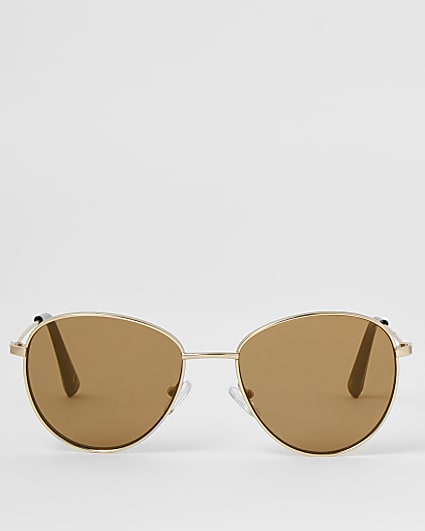 Gold round frame sunglasses
