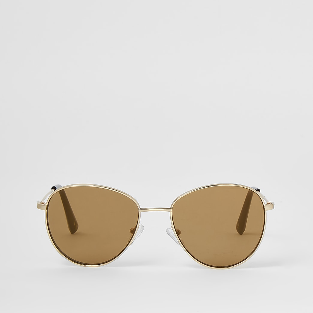 Gold round frame sunglasses