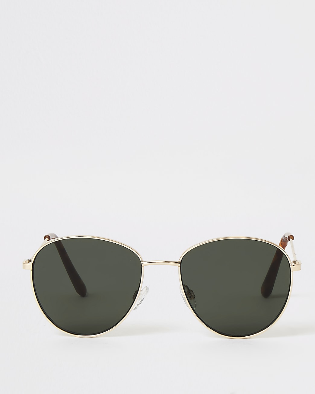 Gold round green tinted sunglasses