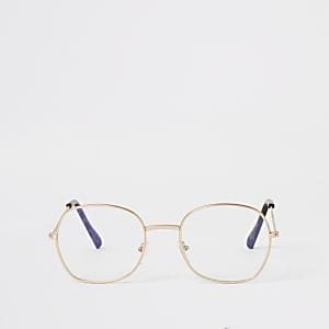 Goudkleurige ronde pretender zonnebril
