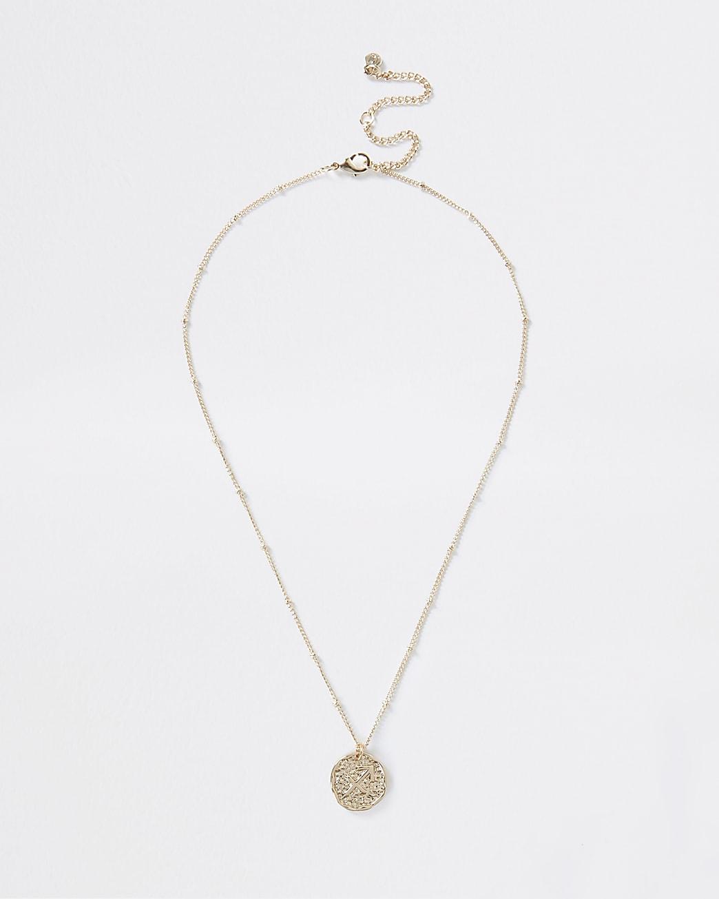 Gold Sagittarius Horoscope Coin Necklace