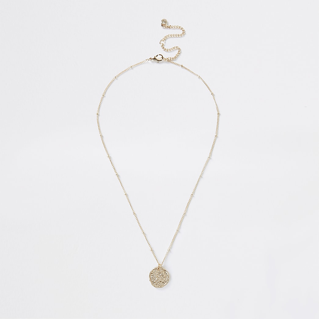 Gold Sagittarius Horoscope Coin Necklace