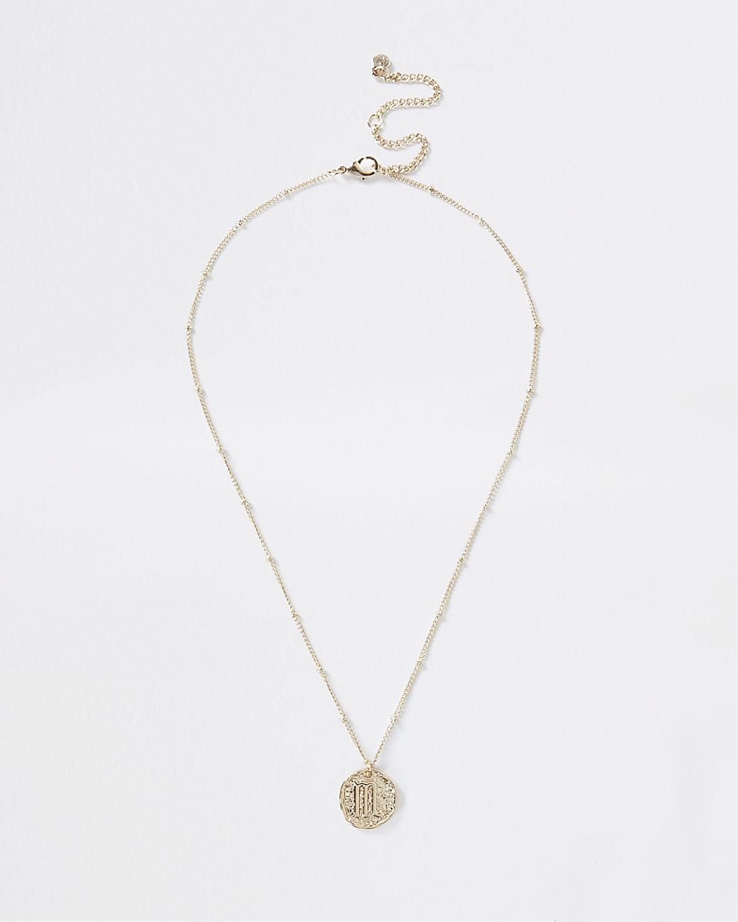 Gold Scorpio horoscope coin necklace