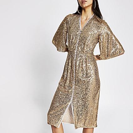 Gold sequin midi kimono