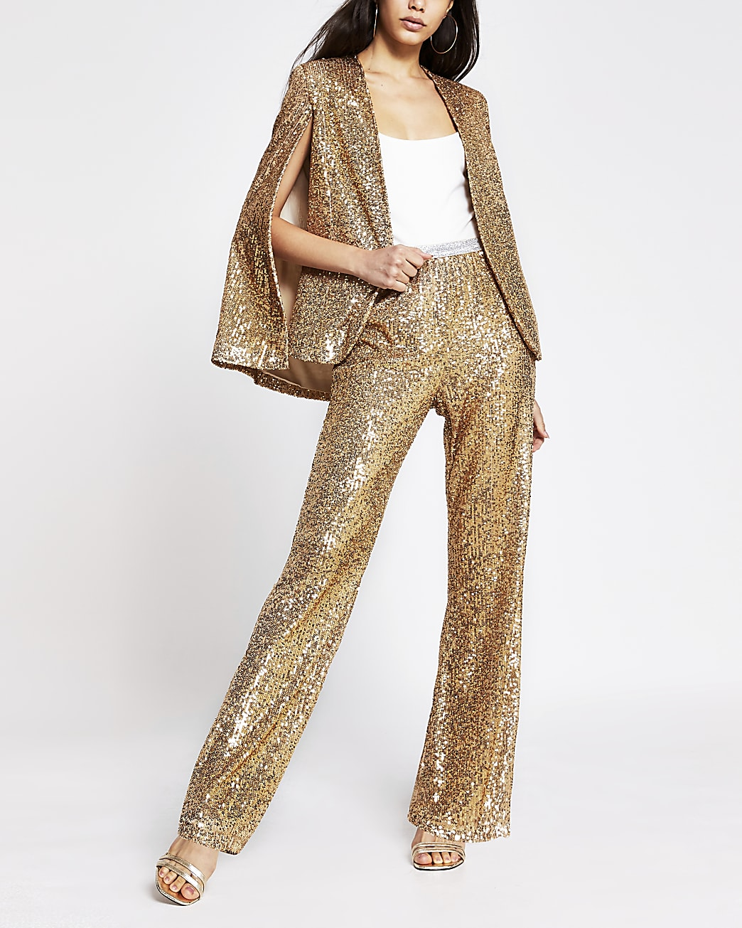 Gold sequin wide leg trouser