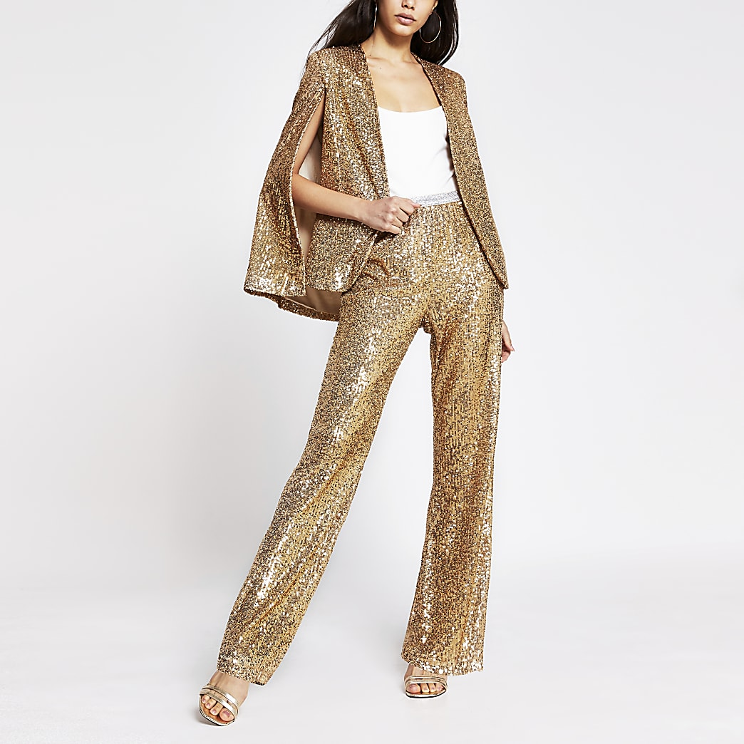 Gold sequin wide leg trouser