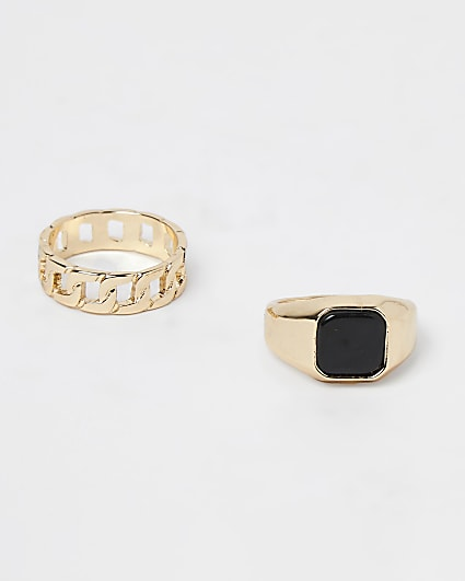 Gold signet and chain ring multipack