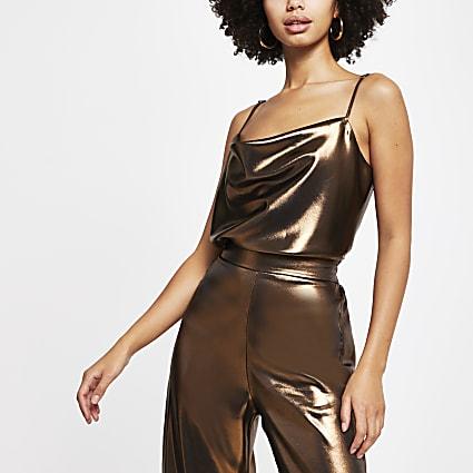 Gold sleeveless cowl neck cami top