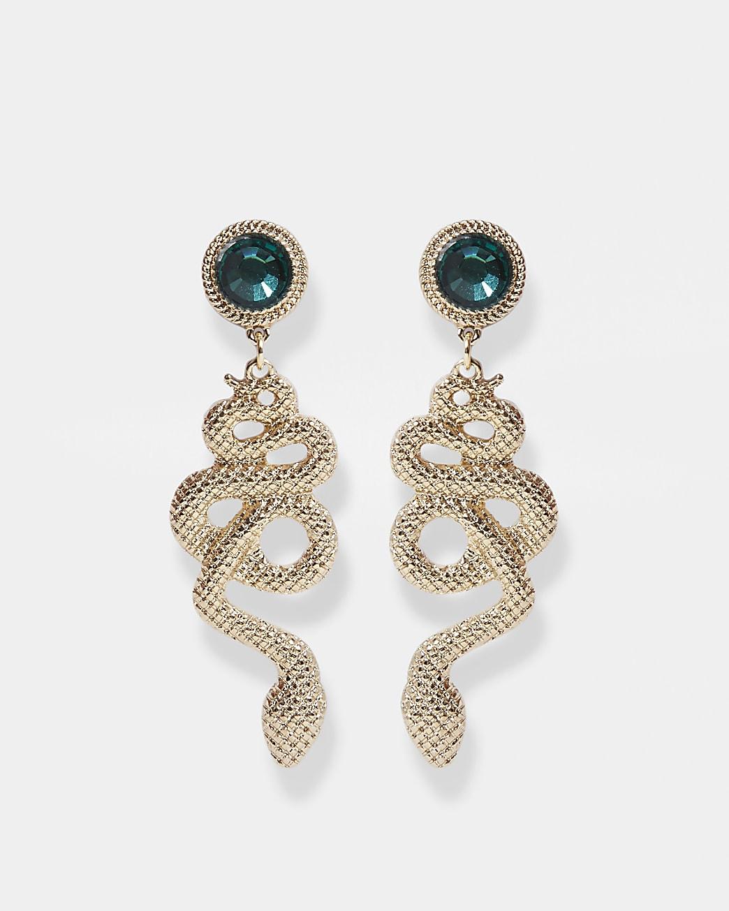 Gold snake green stone drop earrings
