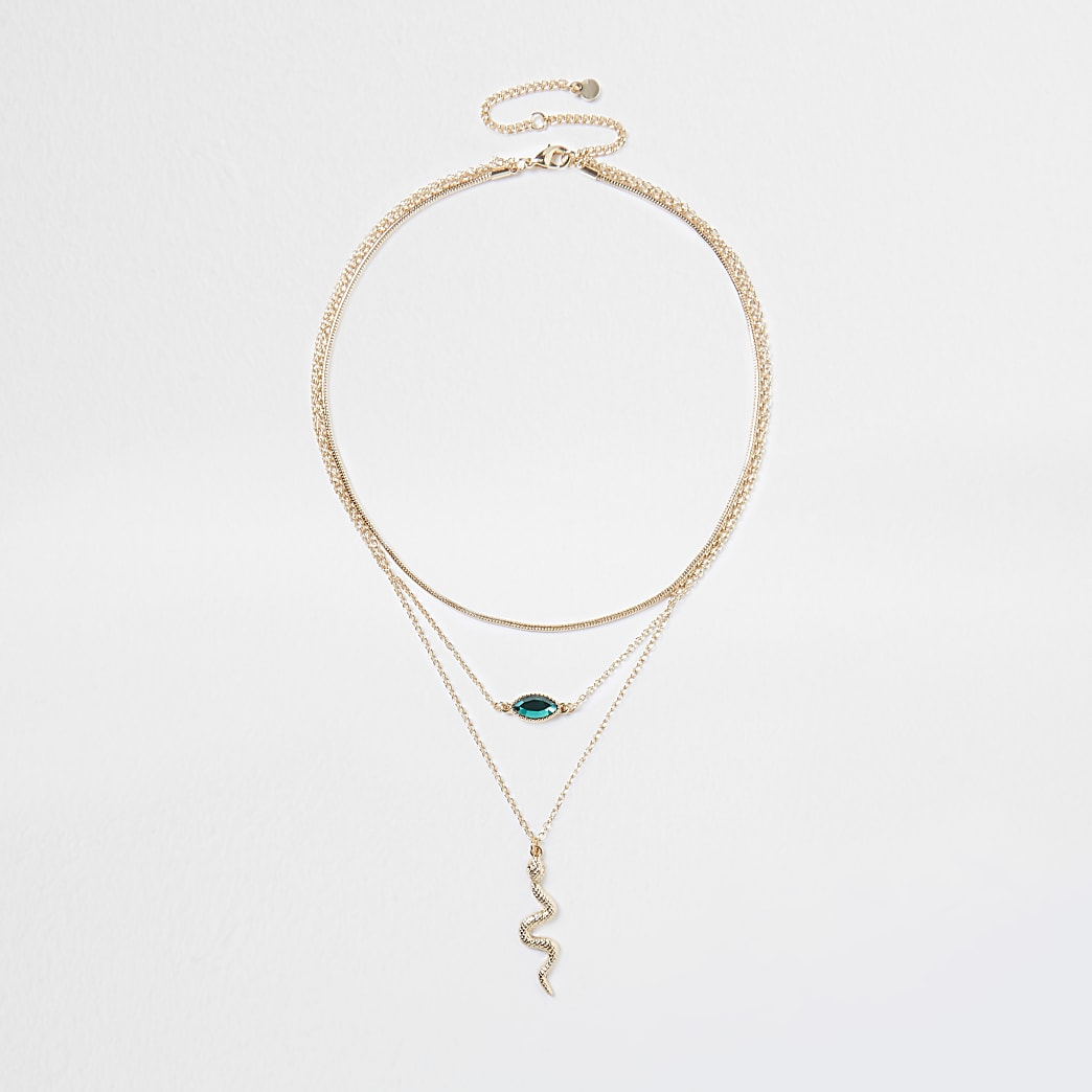 Gold snake green stone necklace