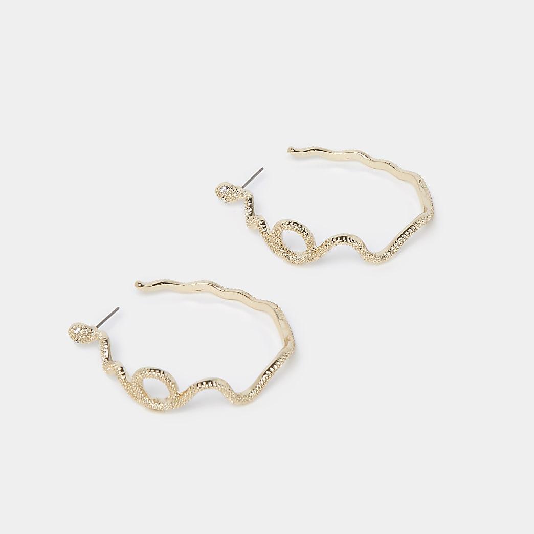 Gold snake wrapped hoop earrings