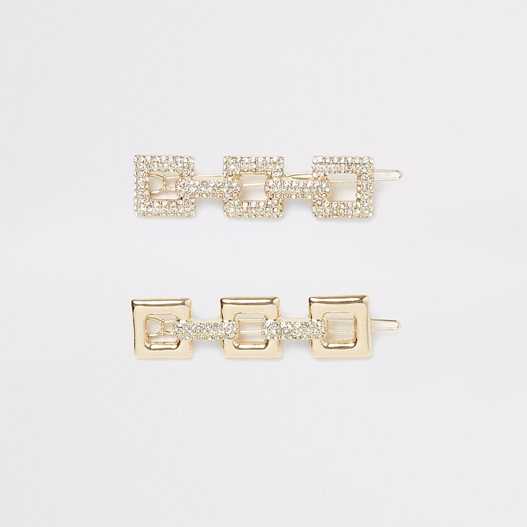 Set van 2 goudkleurige vierkante haarspeldjes met siersteentjes