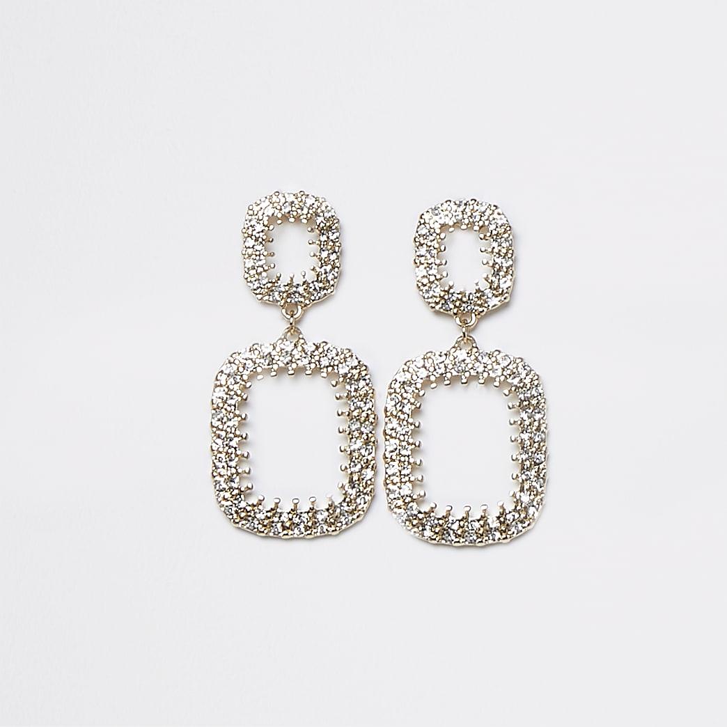 Gold Square Open Drop Earrings