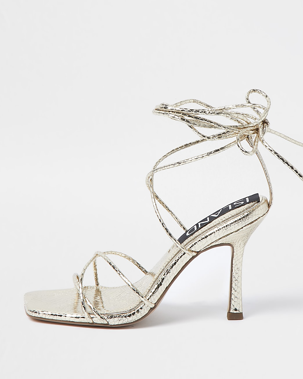Gold square toe strappy heeled sandals